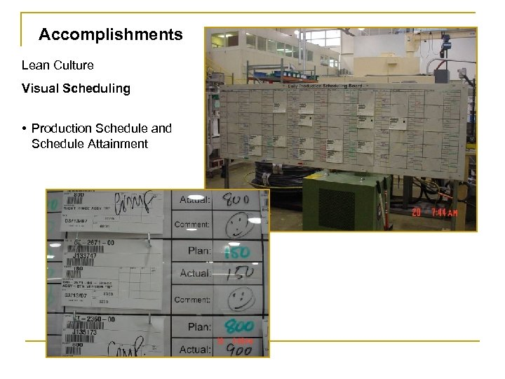 Accomplishments Lean Culture Visual Scheduling • Production Schedule and Schedule Attainment