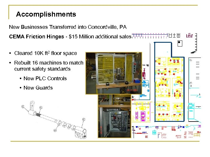 Accomplishments New Businesses Transferred into Concordville, PA CEMA Friction Hinges - $15 Million additional