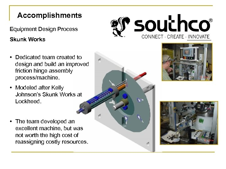 Accomplishments Equipment Design Process Skunk Works • Dedicated team created to design and build
