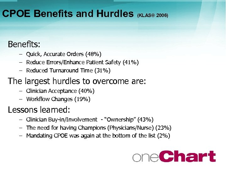 CPOE Benefits and Hurdles (KLAS® 2006) Benefits: – Quick, Accurate Orders (48%) – Reduce
