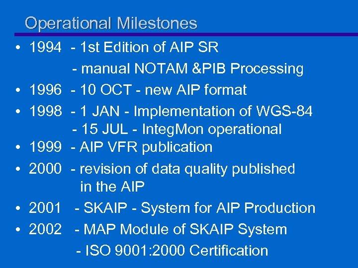 Operational Milestones • 1994 - 1 st Edition of AIP SR - manual NOTAM