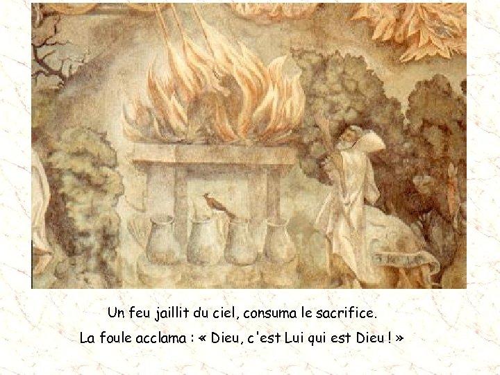 Un feu jaillit du ciel, consuma le sacrifice. La foule acclama : « Dieu,