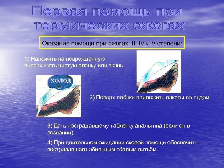 Оказание помощи при ожогах III, IV и V степени: 1) Наложить на повреждённую поверхность