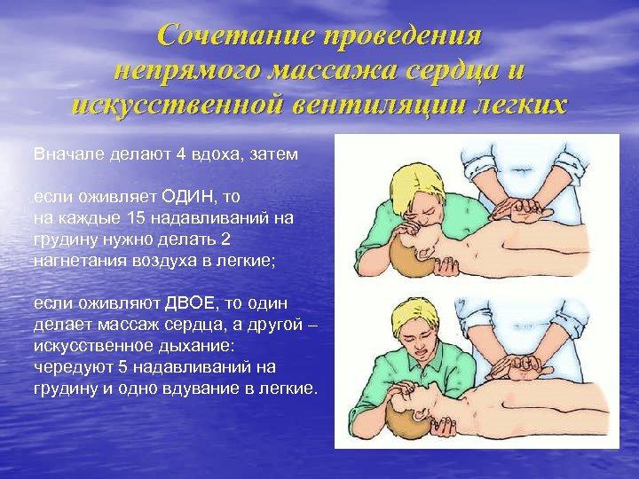 Сочетание проведения непрямого массажа сердца и искусственной вентиляции легких Вначале делают 4 вдоха, затем