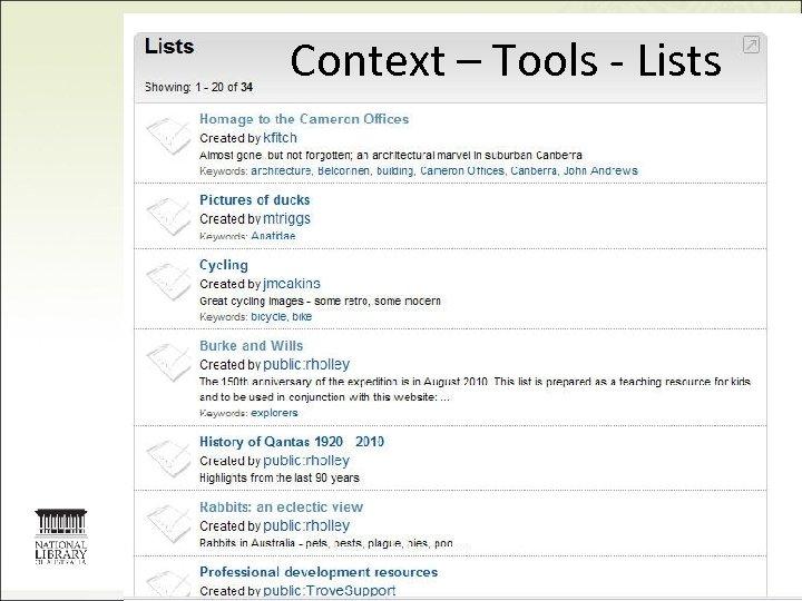 Context – Tools - Lists 21
