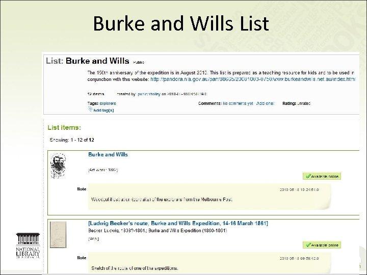 Burke and Wills List 22