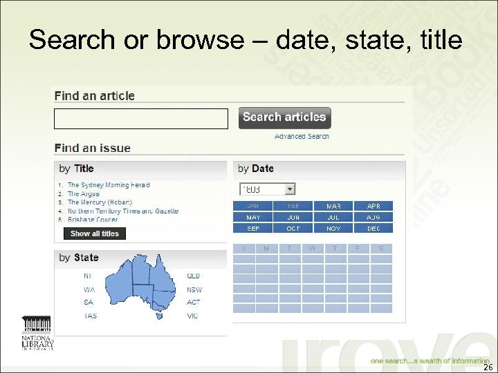 Search or browse – date, state, title 26