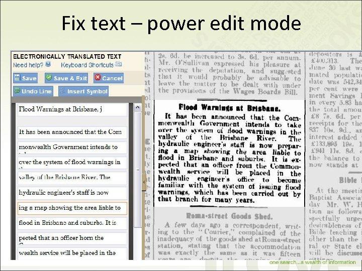 Fix text – power edit mode 30