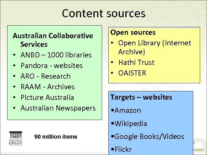 Content sources Australian Collaborative Services • ANBD – 1000 libraries • Pandora - websites