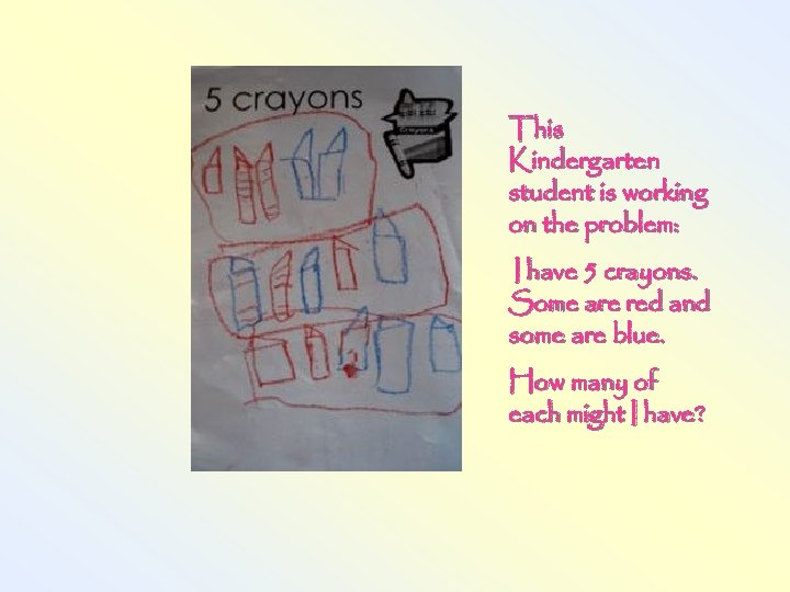 This Kindergarten student is working on the problem: I have 5 crayons. Some are