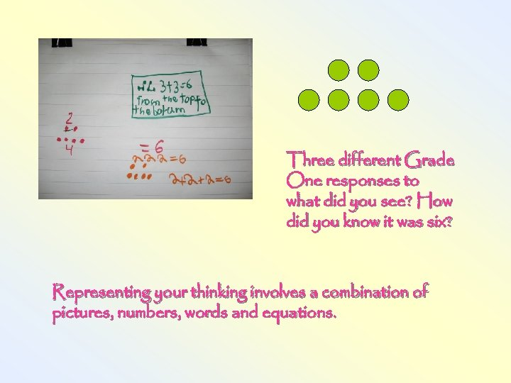 Three different Grade One responses to what did you see? How did you know