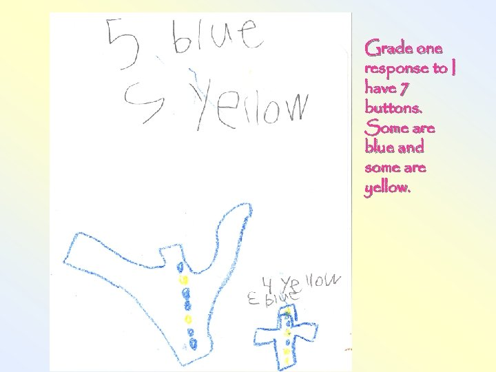 Grade one response to I have 7 buttons. Some are blue and some are