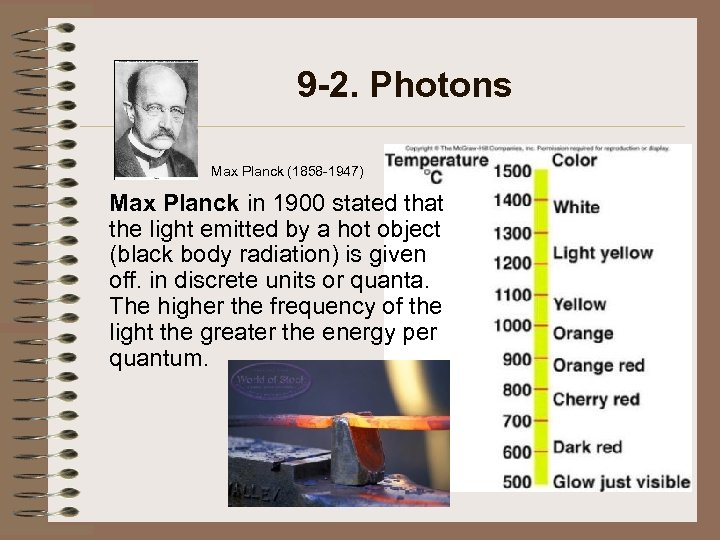 9 -2. Photons Max Planck (1858 -1947) Max Planck in 1900 stated that the