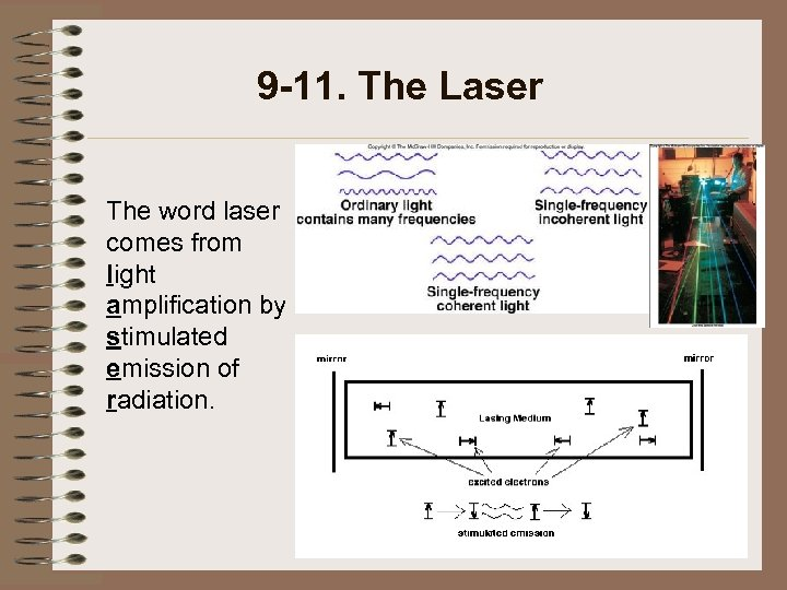 9 -11. The Laser The word laser comes from light amplification by stimulated emission
