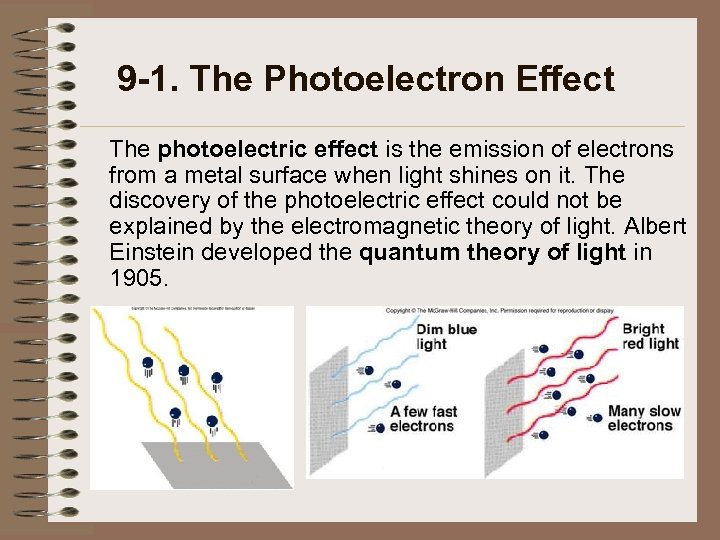 9 -1. The Photoelectron Effect The photoelectric effect is the emission of electrons from