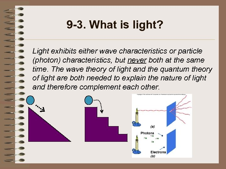9 -3. What is light? Light exhibits either wave characteristics or particle (photon) characteristics,
