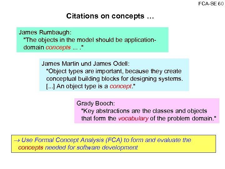 FCA SE 60 Citations on concepts … James Rumbaugh: