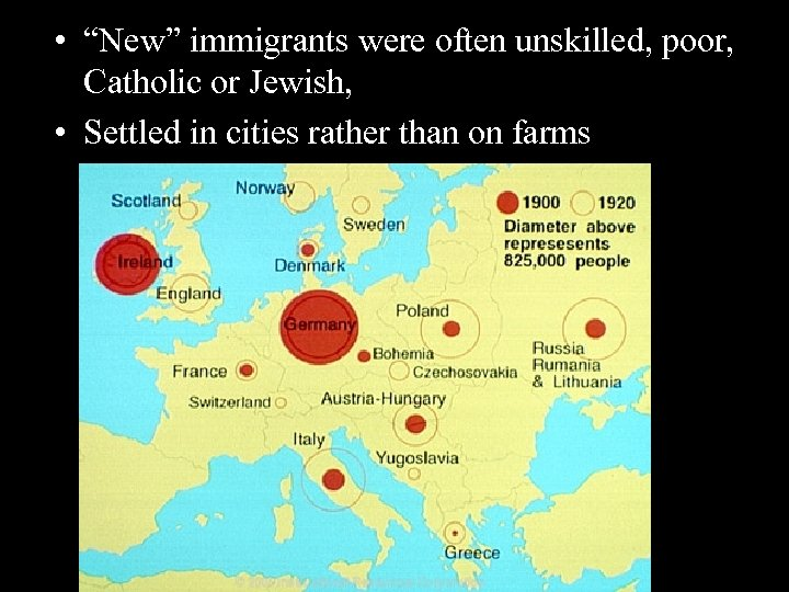 "• ""New"" immigrants were often unskilled, poor, Catholic or Jewish, • Settled in"