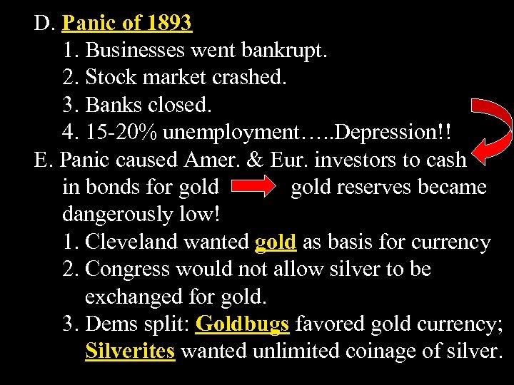 D. Panic of 1893 1. Businesses went bankrupt. 2. Stock market crashed. 3. Banks