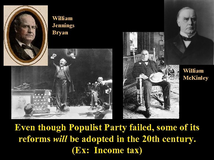 William Jennings Bryan William Mc. Kinley Even though Populist Party failed, some of its