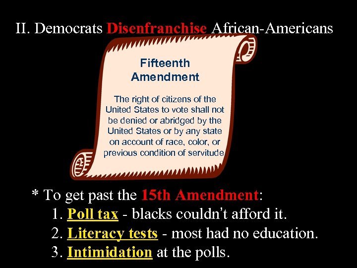 II. Democrats Disenfranchise African-Americans Fifteenth Amendment The right of citizens of the United States