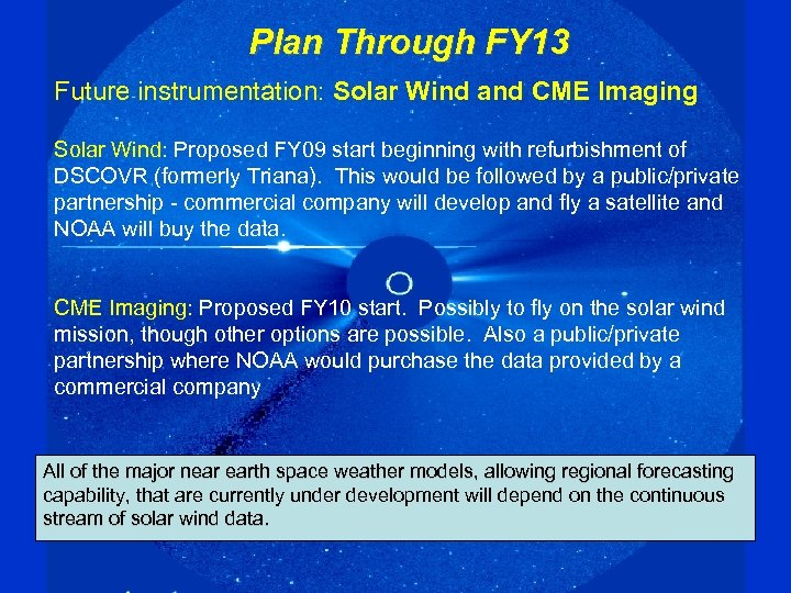 Plan Through FY 13 Future instrumentation: Solar Wind and CME Imaging Solar Wind: Proposed
