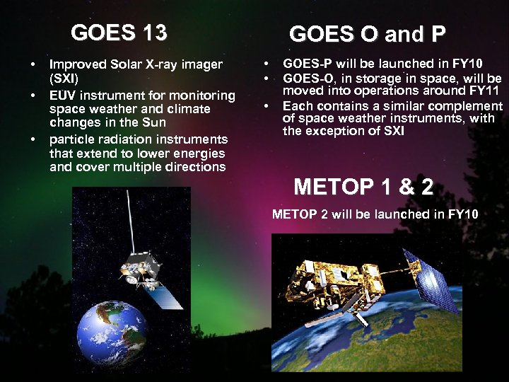 GOES 13 • • • Improved Solar X-ray imager (SXI) EUV instrument for monitoring