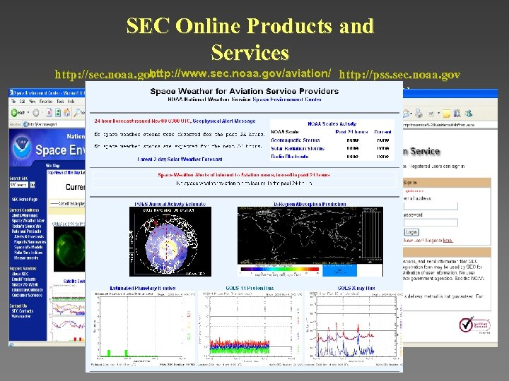 SEC Online Products and Services http: //www. sec. noaa. gov/aviation/ http: //pss. sec. noaa.