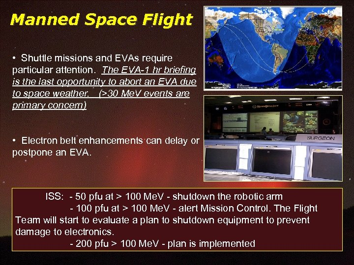 Manned Space Flight • Shuttle missions and EVAs require particular attention. The EVA-1 hr