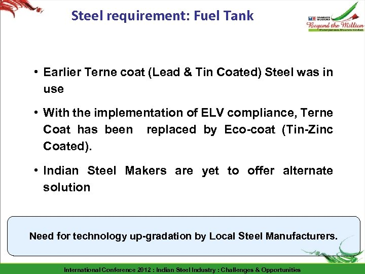 Steel requirement: Fuel Tank • Earlier Terne coat (Lead & Tin Coated) Steel was