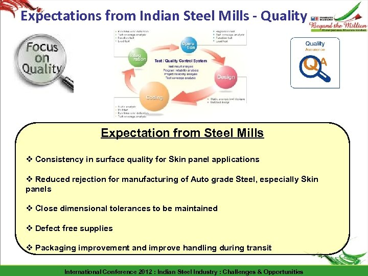 Expectations from Indian Steel Mills - Quality Expectation from Steel Mills v Consistency in