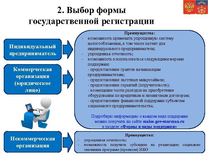 2. Выбор формы государственной регистрации - Индивидуальный предприниматель - Коммерческая организация (юридическое лицо) Преимущества: