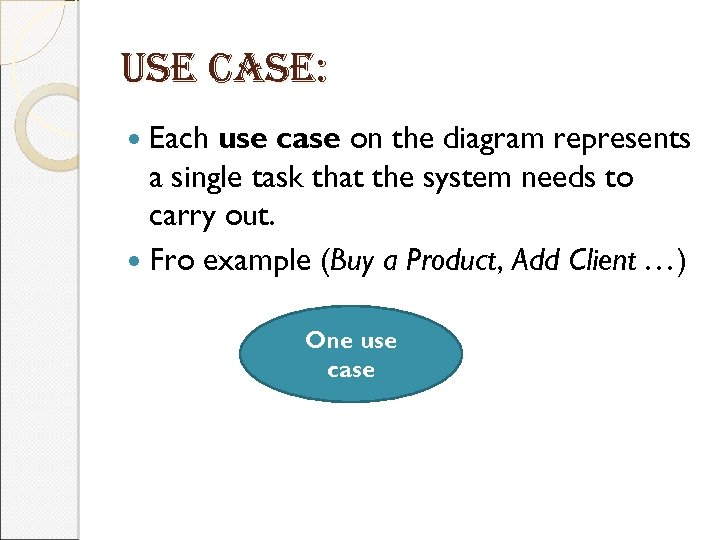 use case: Each use case on the diagram represents a single task that the