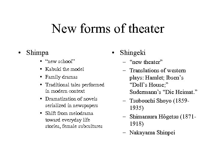 "New forms of theater • Shimpa • • ""new school"" Kabuki the model Family"