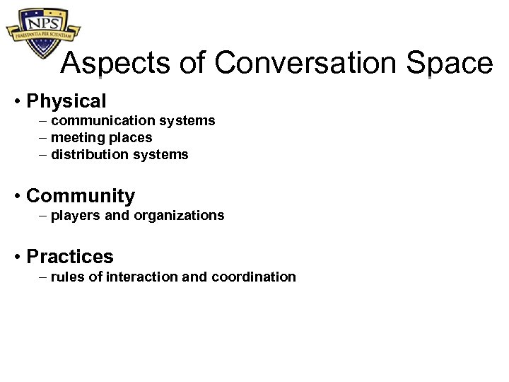 Aspects of Conversation Space • Physical – communication systems – meeting places – distribution