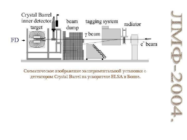FD Схематическое изображение экспериментальной установки с детектором Crystal Barrel на ускорителе ELSA в Бонне.