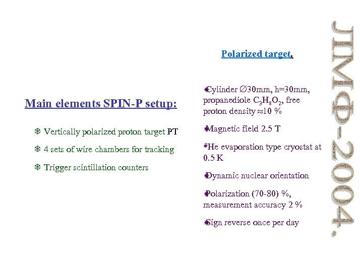 Polarized target. TARGET: MAIN ELEMENTS: Cylinder 30 mm, h=30 mm, propanediole C 3 H