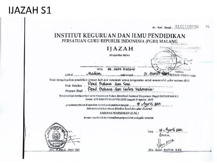 IJAZAH S 1