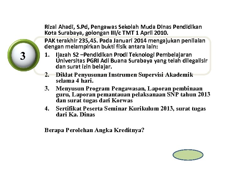 3 Rizal Ahadi, S. Pd, Pengawas Sekolah Muda Dinas Pendidikan Kota Surabaya, golongan III/c