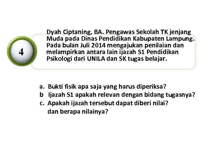 4 Dyah Ciptaning, BA. Pengawas Sekolah TK jenjang Muda pada Dinas Pendidikan Kabupaten Lampung.