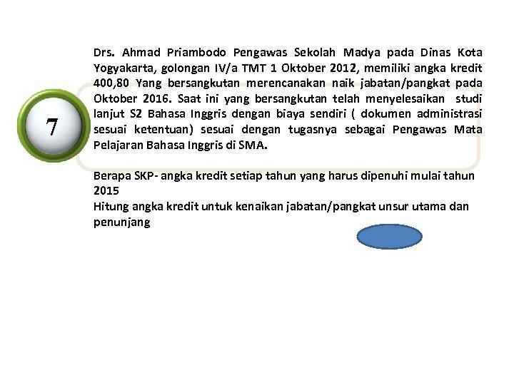 7 Drs. Ahmad Priambodo Pengawas Sekolah Madya pada Dinas Kota Yogyakarta, golongan IV/a