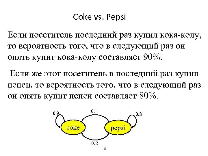 Coke vs. Pepsi Если посетитель последний раз купил кока-колу, то вероятность того, что в