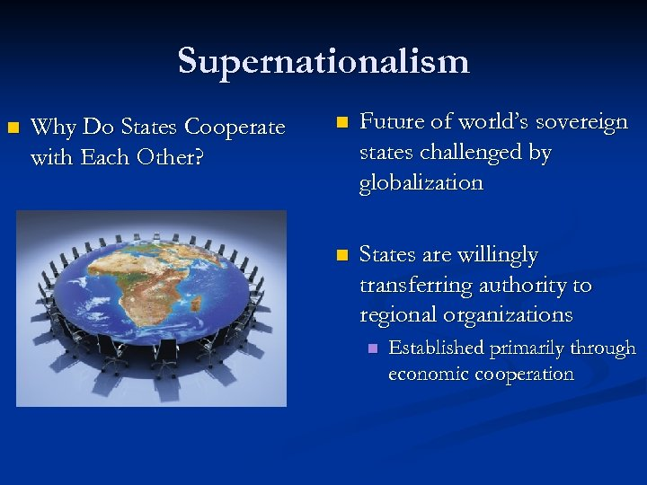 Supernationalism n Why Do States Cooperate with Each Other? n Future of world's sovereign