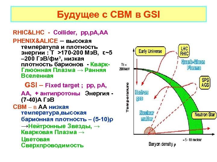 Будущее с CBM в GSI RHIC&LHC - Collider, pp, p. A, AA PHENIX&ALICE –