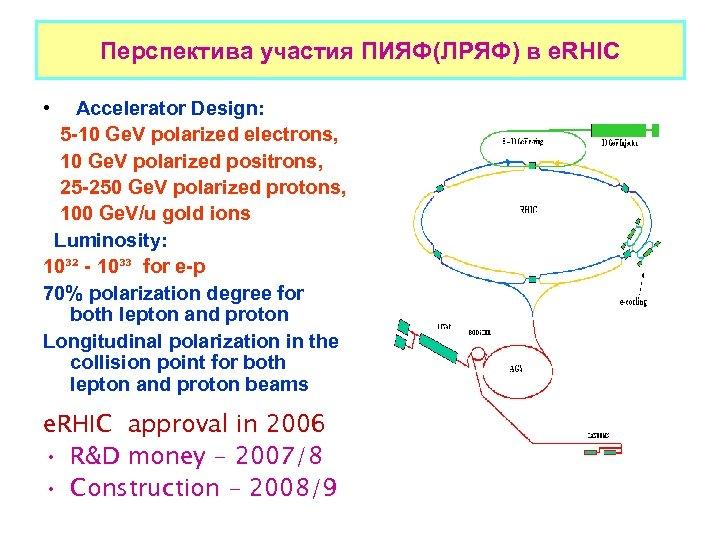 Перспектива участия ПИЯФ(ЛРЯФ) в e. RHIC • Accelerator Design: 5 -10 Ge. V polarized
