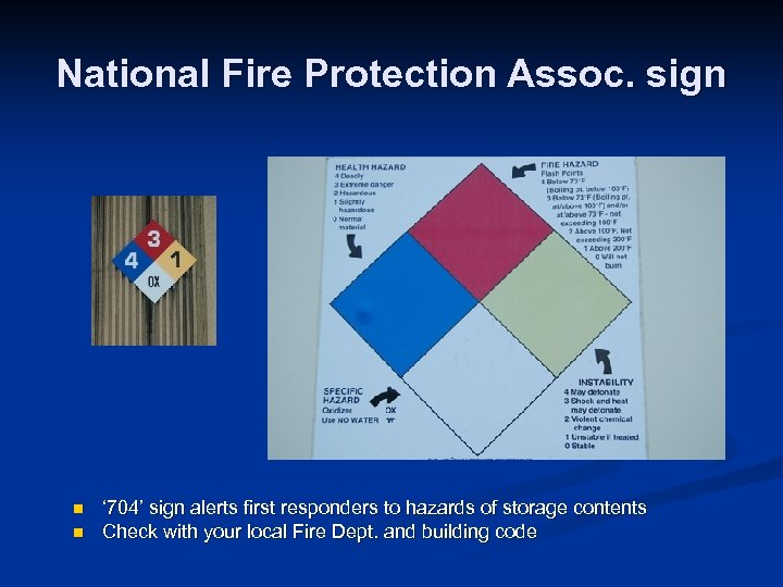 National Fire Protection Assoc. sign n n ' 704' sign alerts first responders to