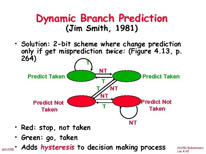 Dynamic Branch Prediction (Jim Smith, 1981) • Solution: 2 -bit scheme where change prediction