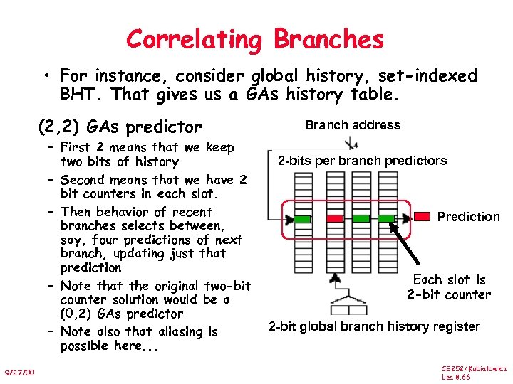 Correlating Branches • For instance, consider global history, set-indexed BHT. That gives us a