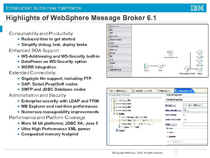 Introduction to the new mainframe Highlights of Web. Sphere Message Broker 6. 1 Consumability