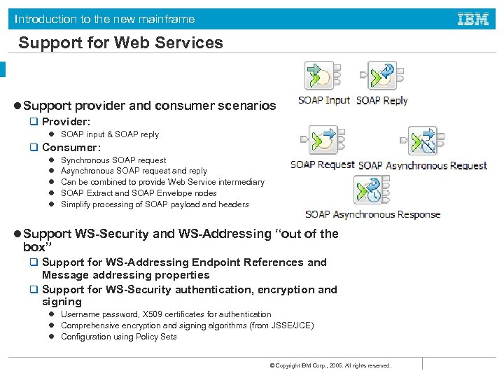 Introduction to the new mainframe Support for Web Services l Support provider and consumer